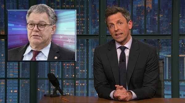 Seth Myers on 'Late Night' took on harassment and hypocrisy.
