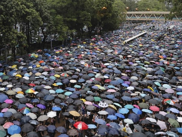 Protesters gather in Hong Kong on Sunday