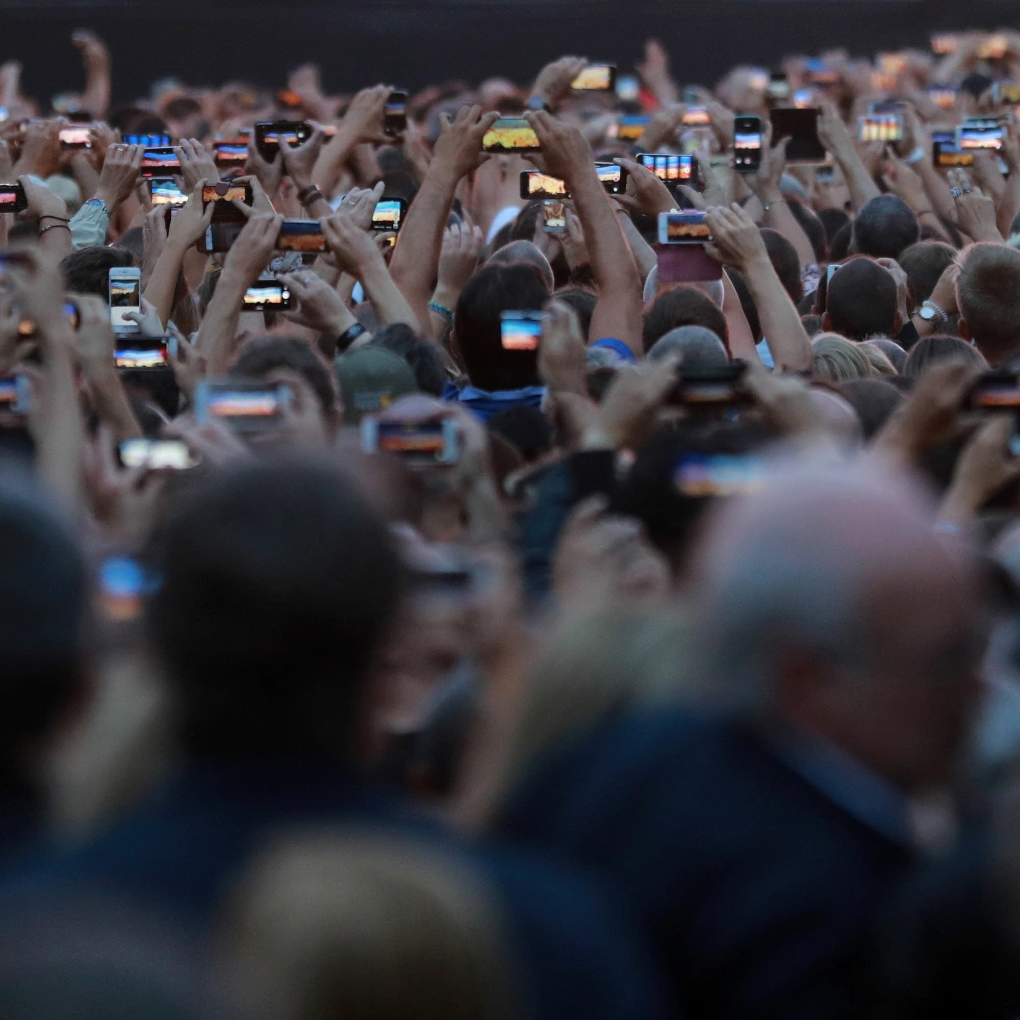 A crowd at a 2017 U2 show in France.