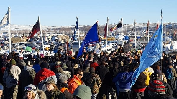 Cheers erupt at Camp Oceti Sakowin