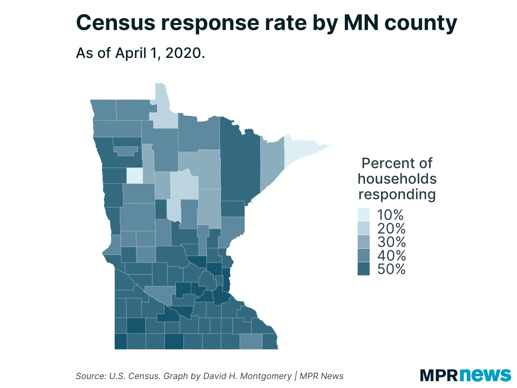 Census response rate by Minnesota county