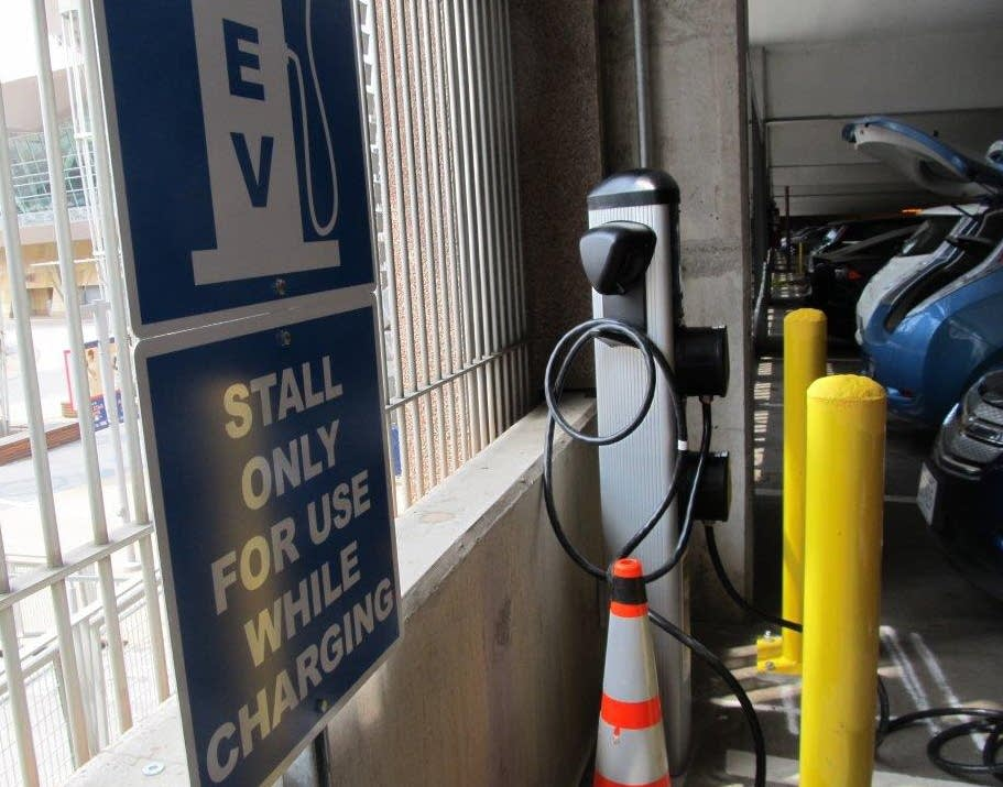Charging station in the Minneapolis B ramp
