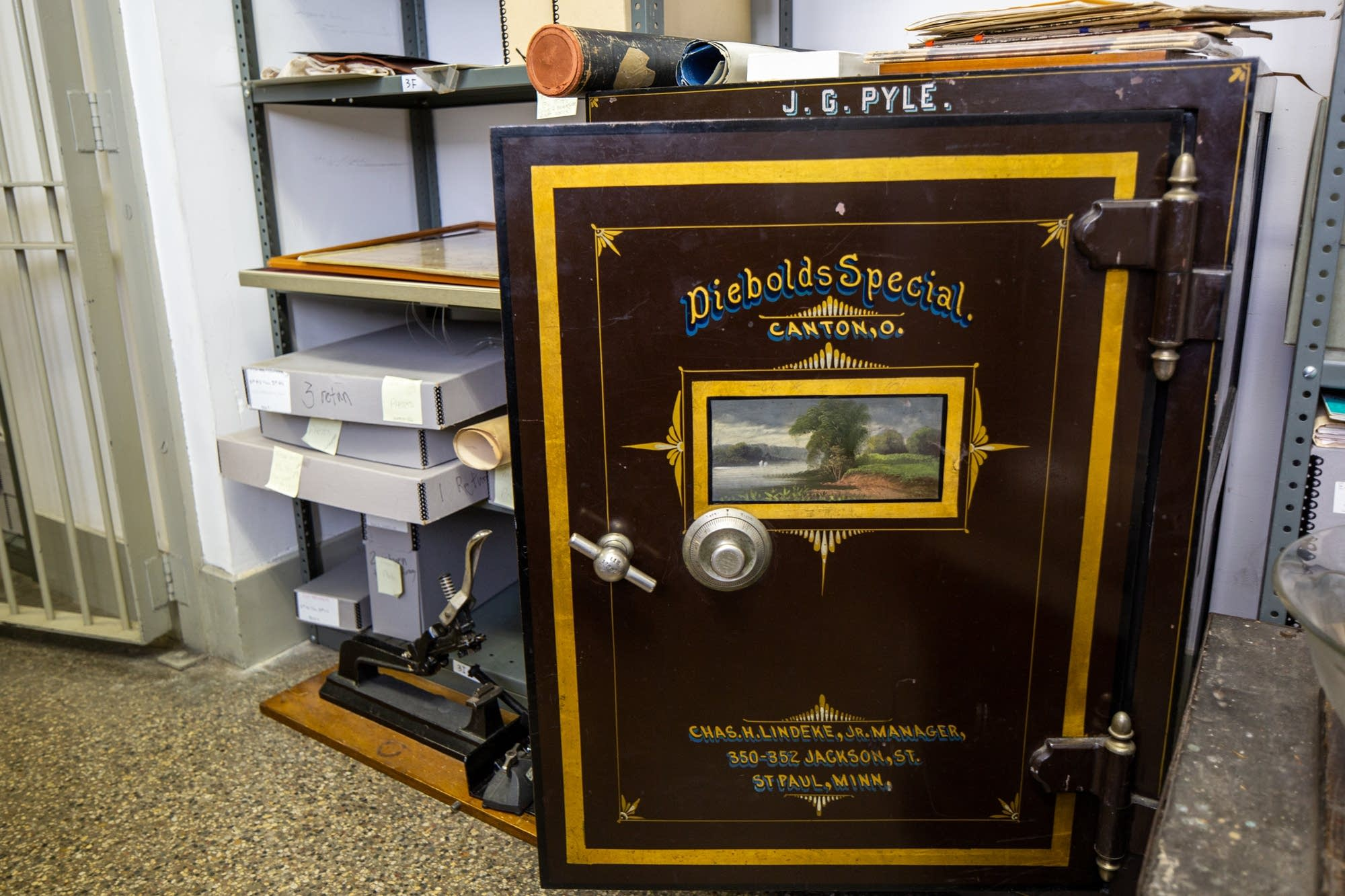 A safe that was used by the James J. Hill Center's first librarian.
