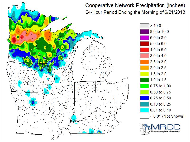 Thursday and Thursday night rainfall