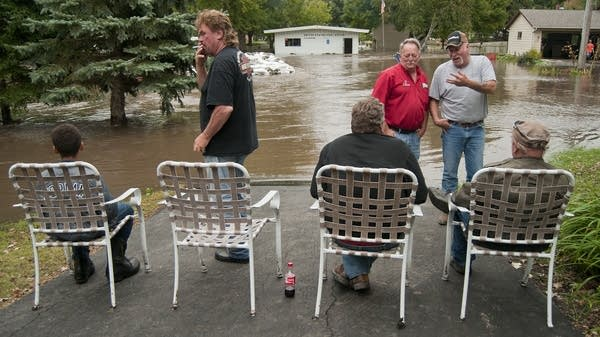 Watching the flood waters.