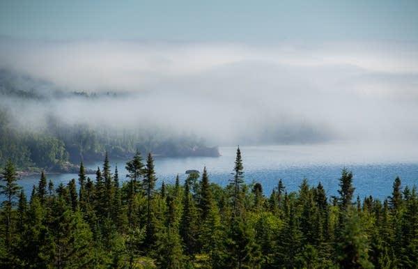 Fog hugs the shore of Lake Superior.