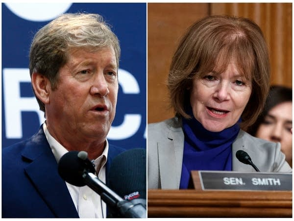 A photo collage of Jason Lewis and Tina Smith