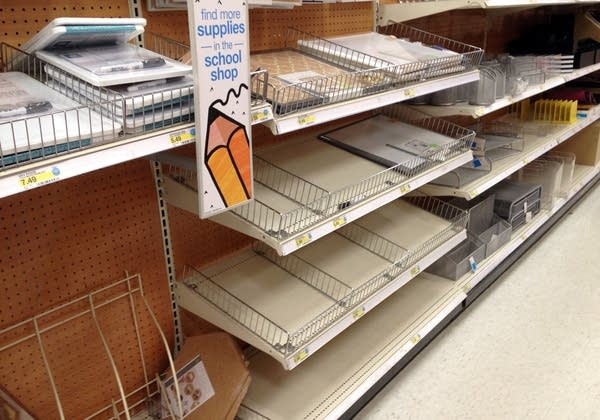 School supply shelves in the Midway Target store.