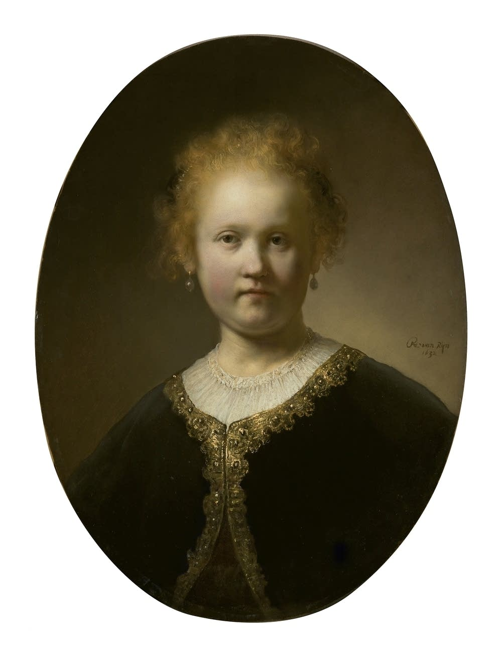 'Portrait of a Girl Wearing a Gold-Trimmed Cloak'
