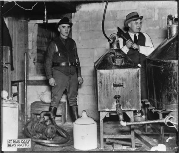 A prohibition raid in St. Paul in 1925.