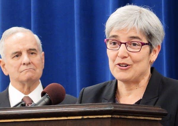 Judge Margaret Chutich and Gov. Mark Dayton
