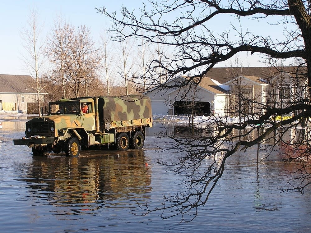 National Guard truck takes evacuees home