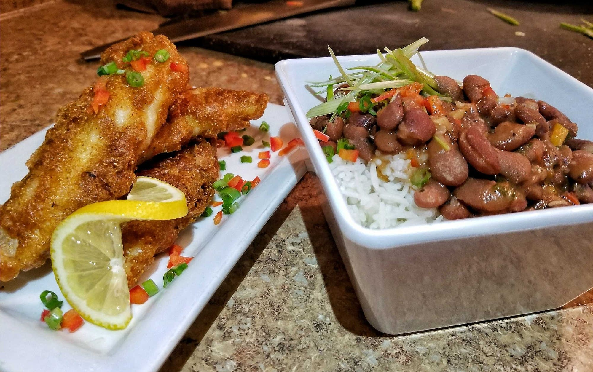 Walleye fingers, left, and vegan red beans and rice