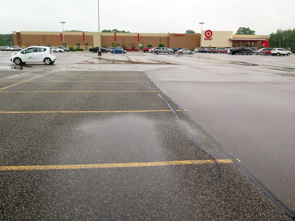 Parking lot partially covered in pervious pavement