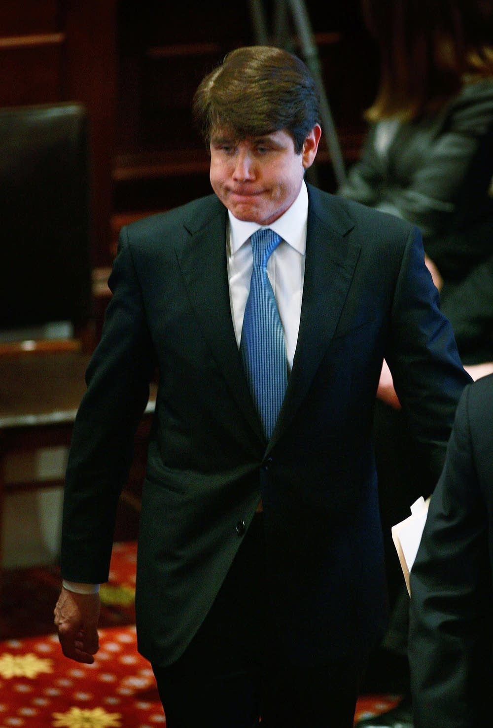 Blagojevich arrives to address the Illinois Senate