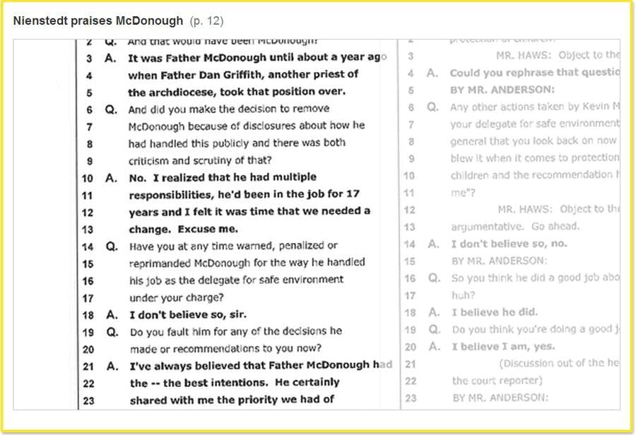 Nienstedt praises McDonough.