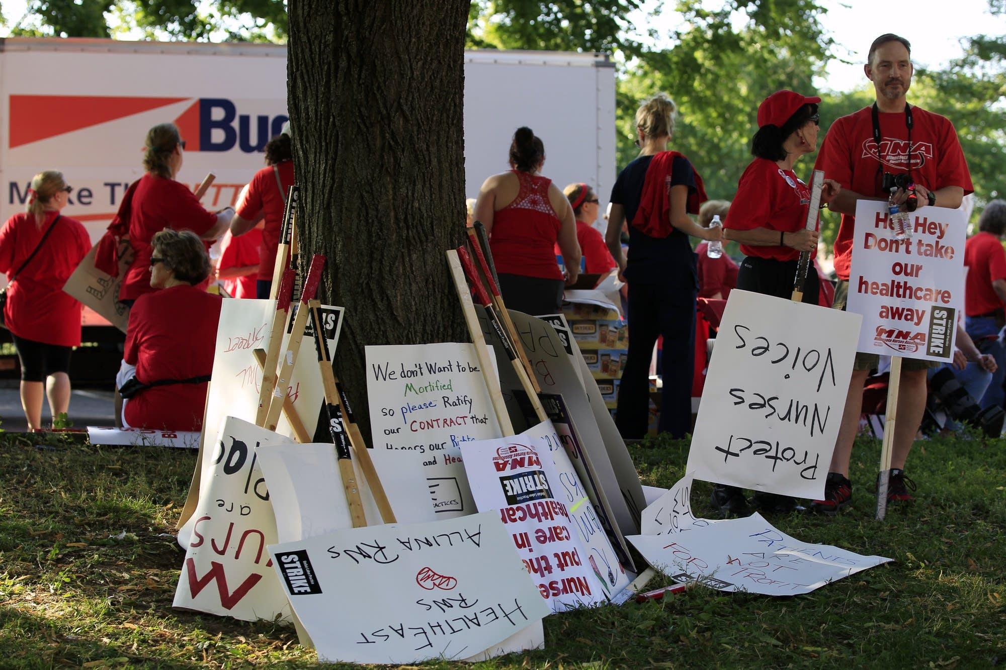 Striking nurses took breaks from picket line.