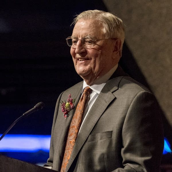 Mondale speaks during a birthday celebration for his 90th birthday.