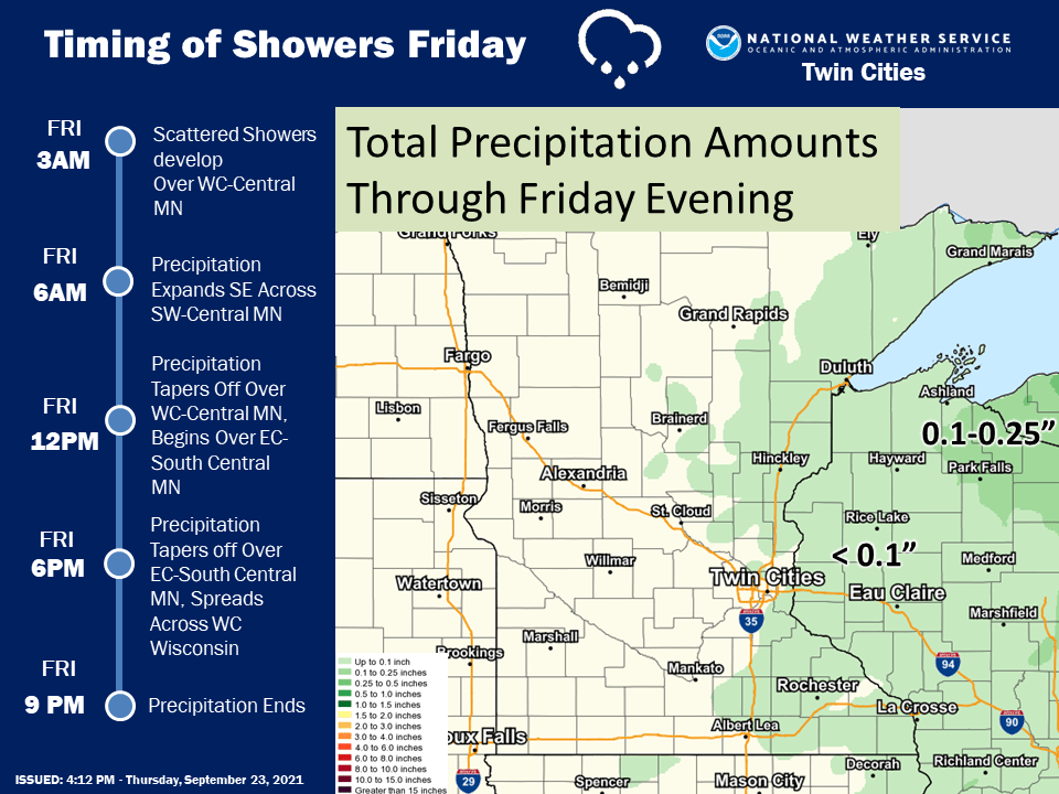Rainfall timing and totals Friday.