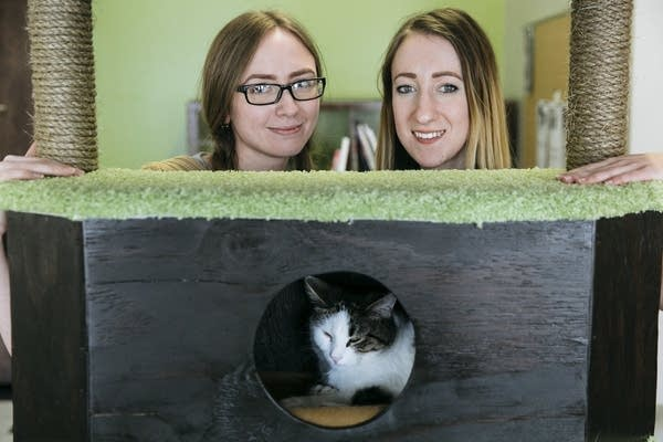The Cafe Meow owners Danielle Rasmussen, left, and Jessica Burge