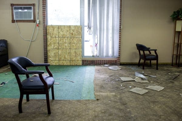 Debris is scattered around a room inside the Dar Al-Farooq Islamic Center.