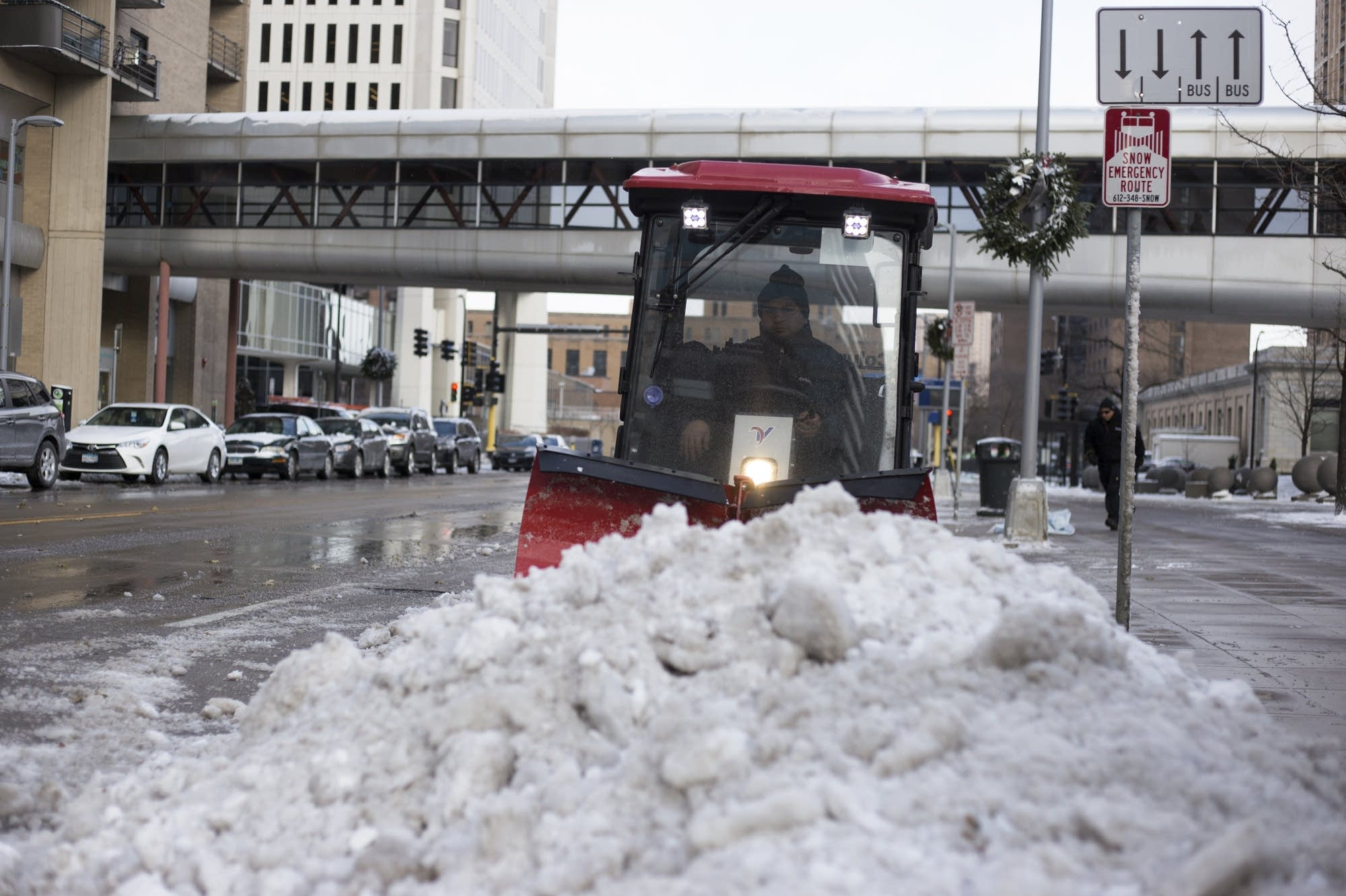 Minneapolis streets have snow removal crews out to clear the first snow.