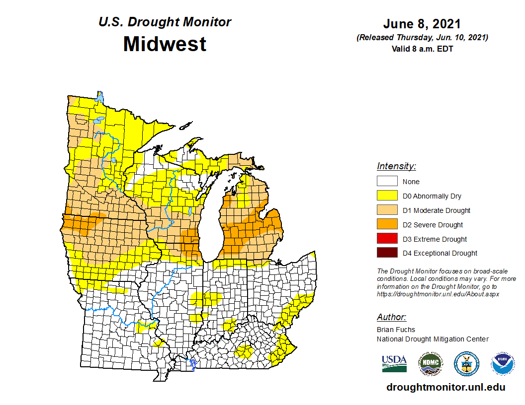 US Drought Monitor for the Midwest