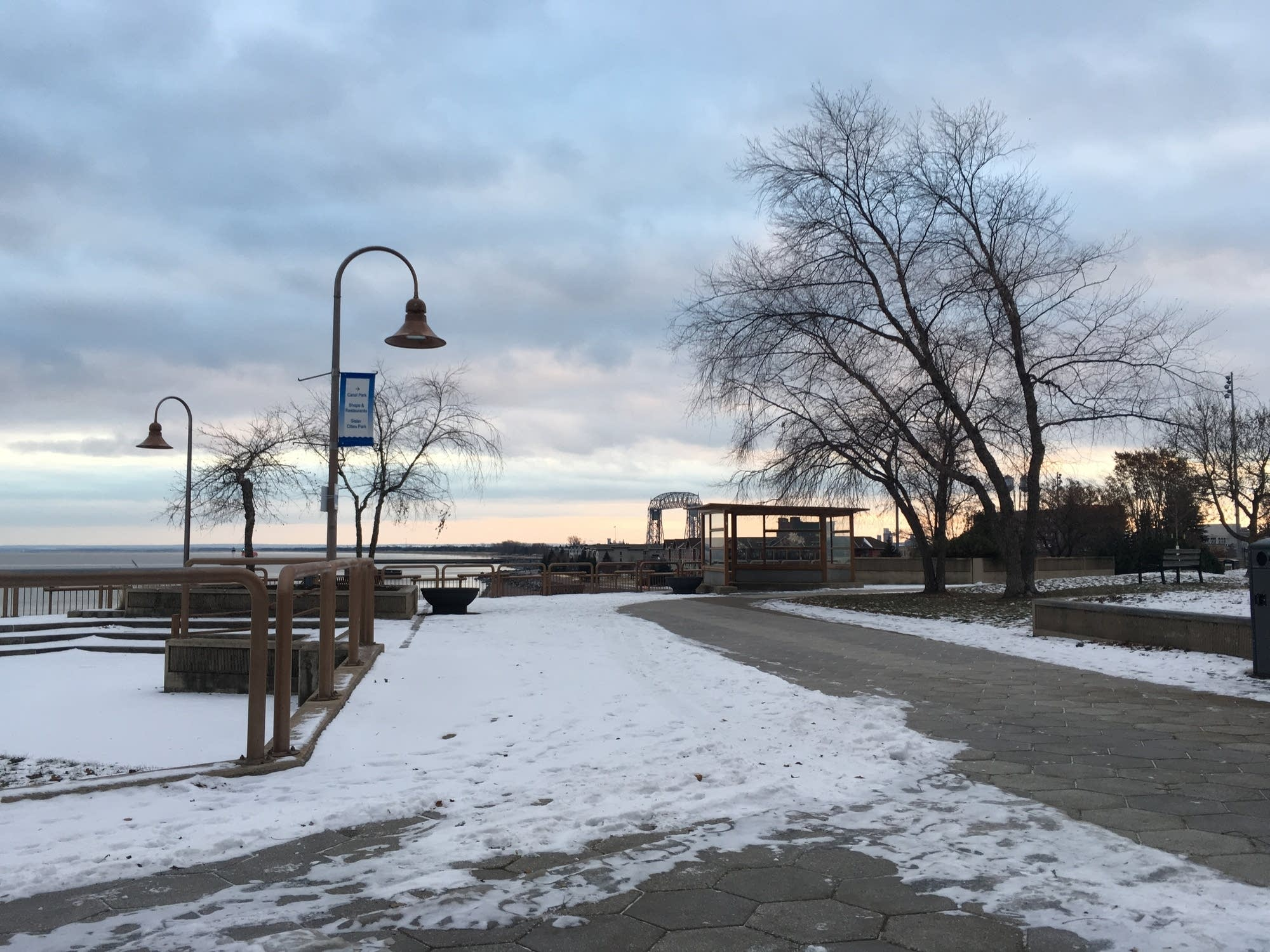 A view of the Aerial Lift Bridge from Lake Place Park.