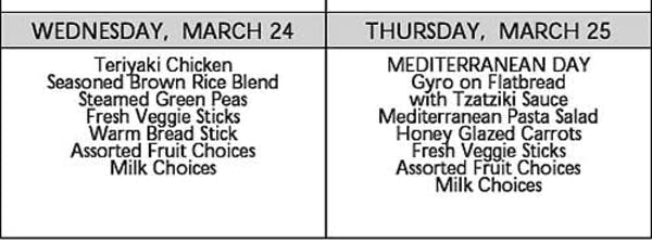 Osseo Area Schools Junior High School lunch menu