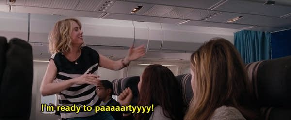 Kristin Wiig in Bridesmaids, drunk and dancing in airplane aisle
