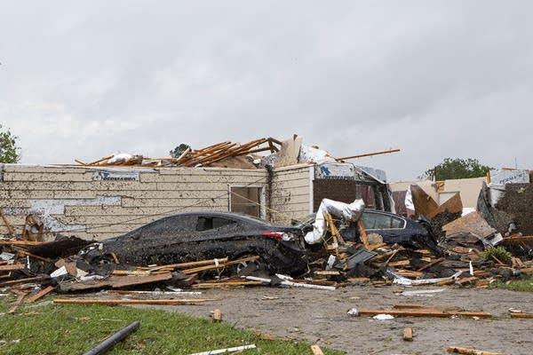 A damaged home.