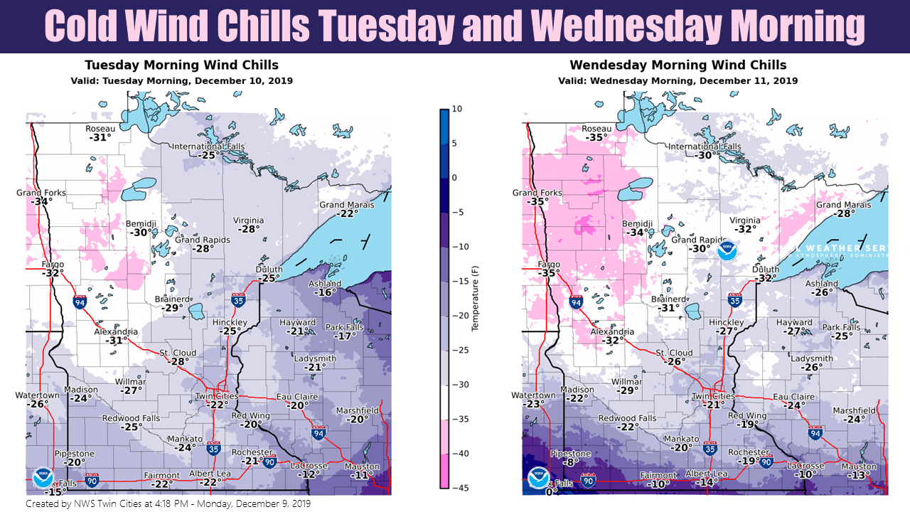 Forecast wind chill temperatures Tuesday and Wednesday mornings