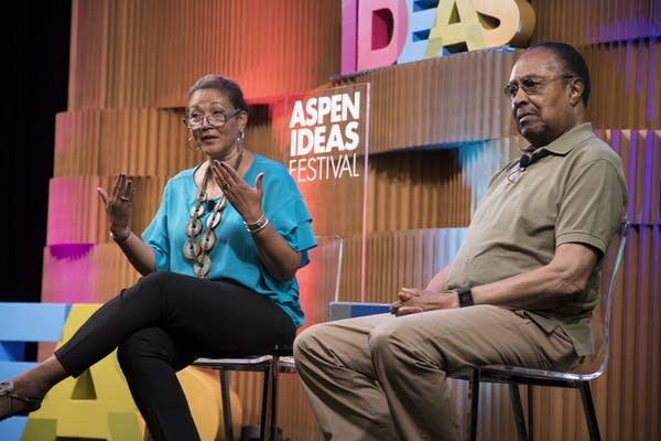Michele Norris and Clarence Jones at the 2017 Aspen Ideas Festival.