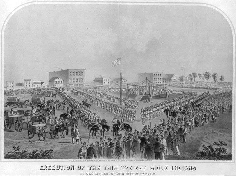 Artist W. H. Childs' portrayal of the public execution.