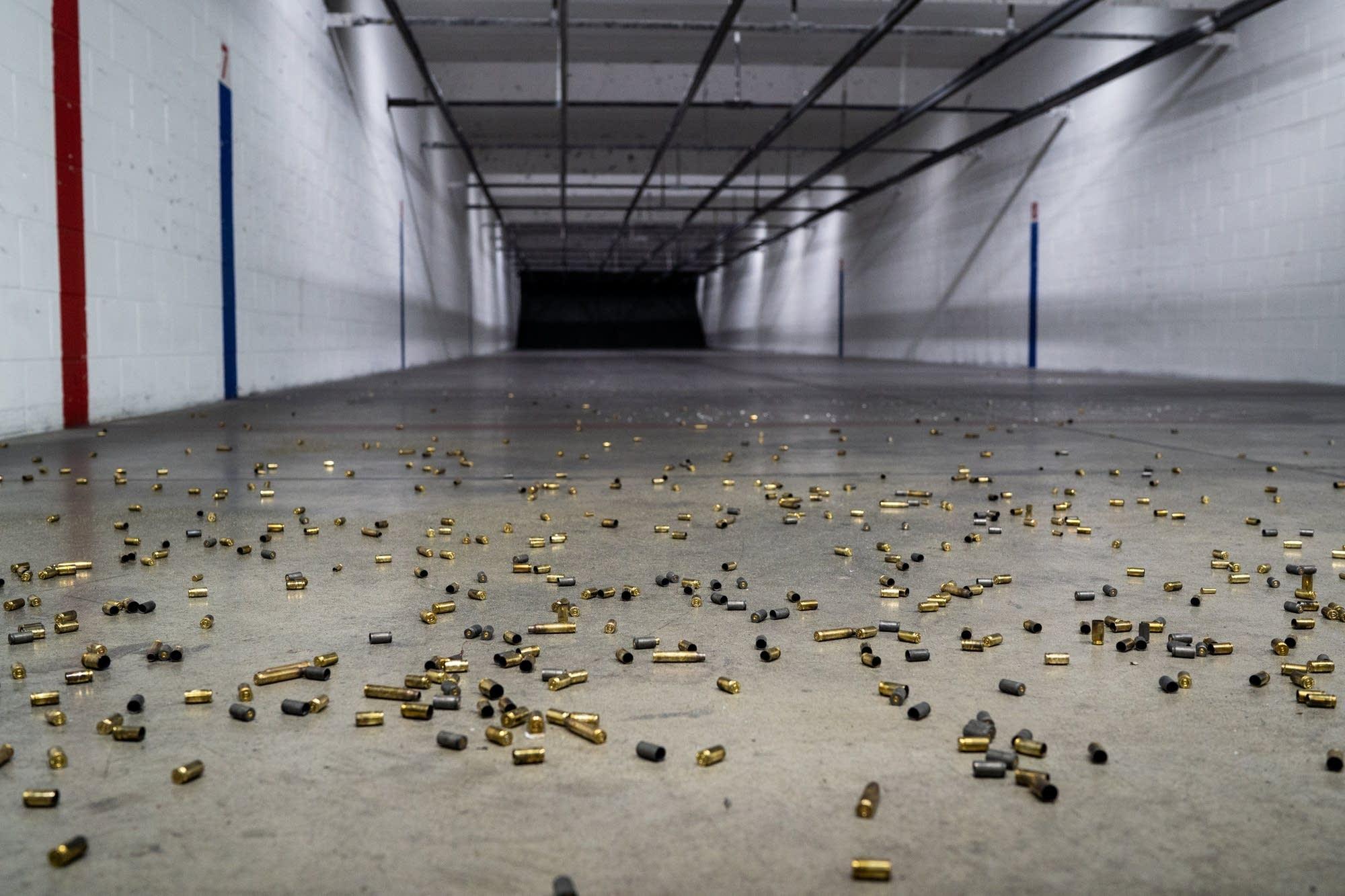 hell casings line the floor of Bill's Gun Shop and Range.