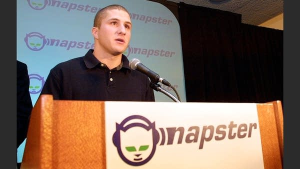 Napster founder Shawn Fanning makes a statement 12 February 2001.