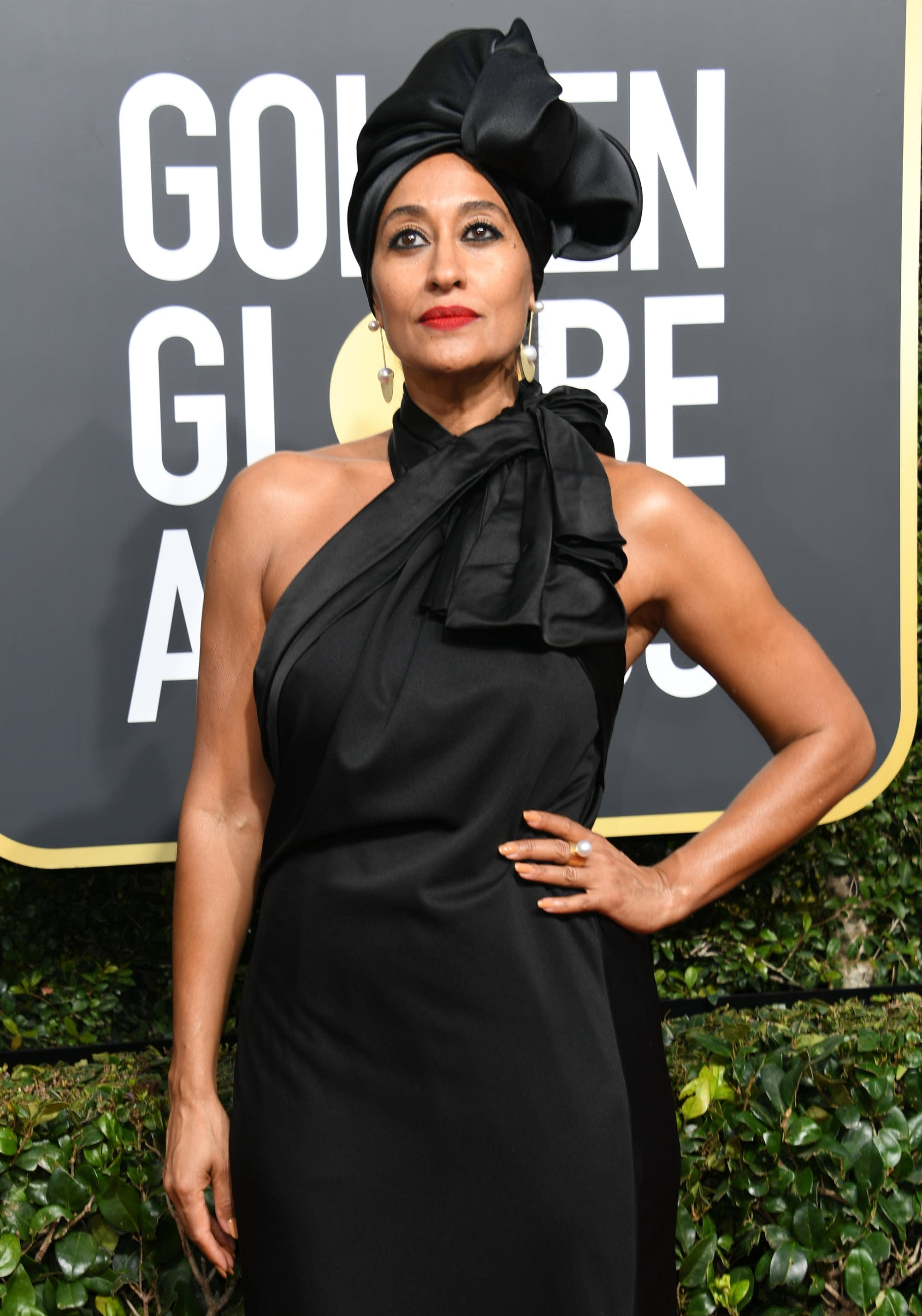 Tracee Ellis Ross arrives at the 75th Golden Globe awards.