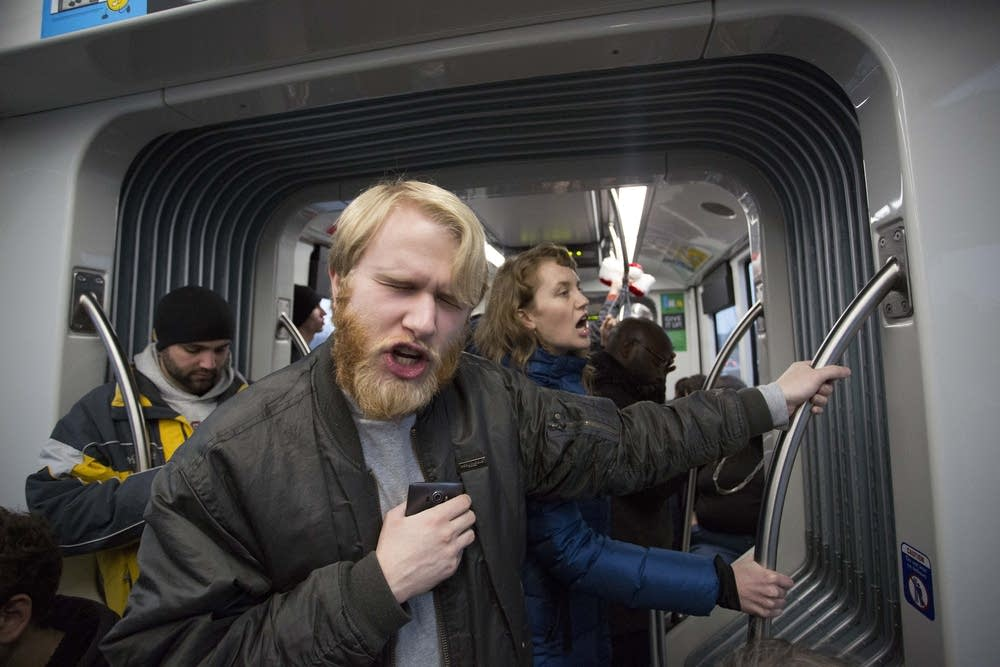 Chanting on the light rail train