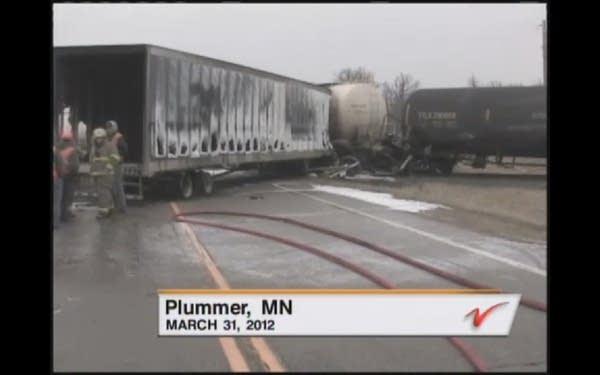 Plummer, Minn. train crash and spill