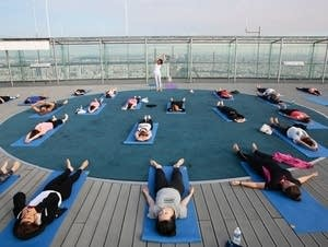 People stretching for yoga