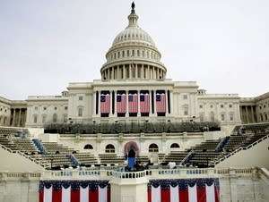 The West Front of the U.S. Capitol is prepared for inauguration day.