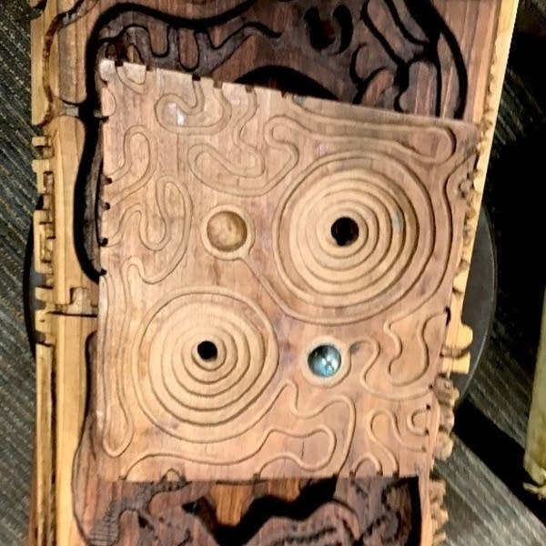 "A ""woodworm maze"" by Faribault sculptor James Coulter."