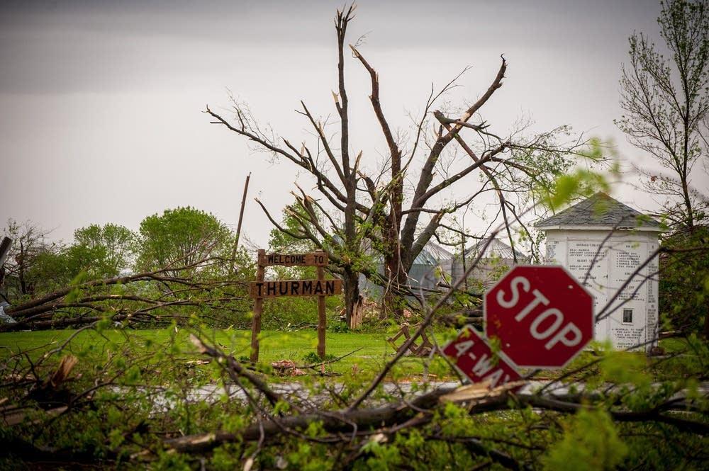 Damage from an apparent tornado