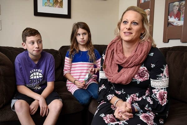 Stephanie Cone, with her children Calen, 11, and Cadie, 8
