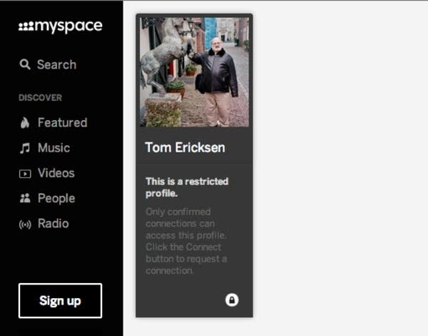 Tom Ericksen's MySpace page