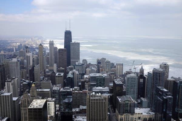 Lake Michigan behind downtown Chicago.