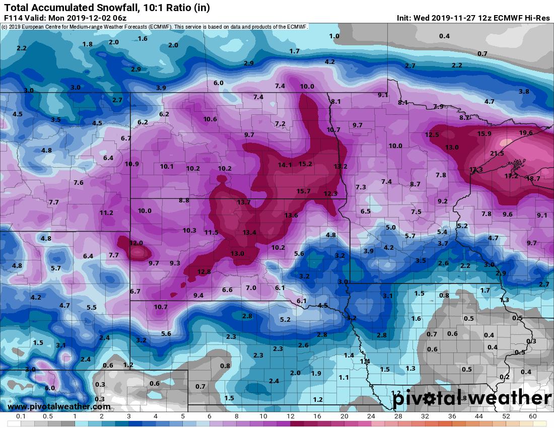 European model (ECMWF) snowfall output through Sunday