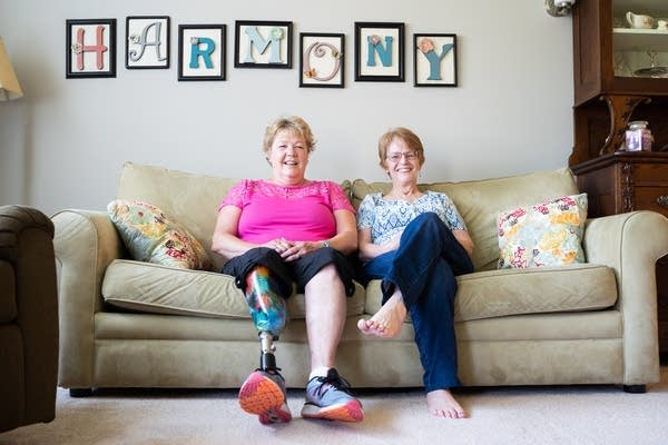 Pam Macdonald, left and Char Golgart sit for a portrait.