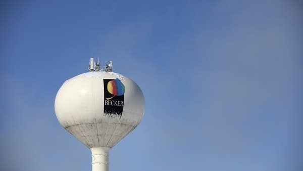 A white water tower.