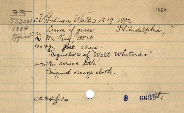 "The Library of Congress card for Walt Whitman's ""Leaves of Grass."""